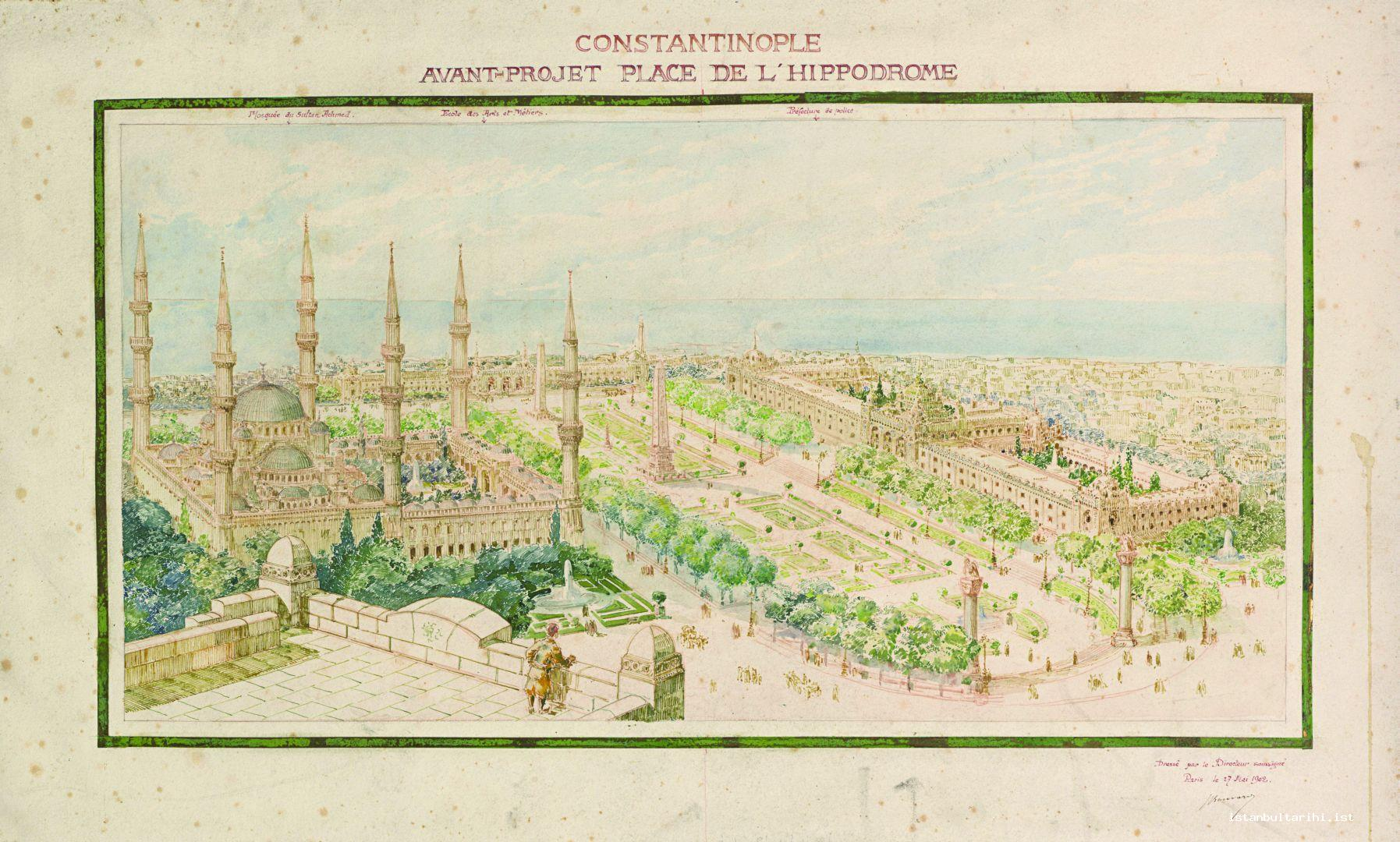 9- Antoine Bouvard's Horse Square (Hippodrome) Project (Istanbul University, Rare Books and Special Collections Library, Maps Section)
