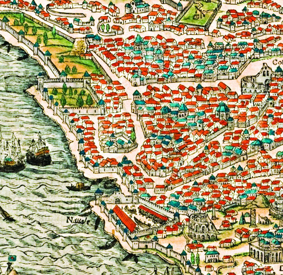 3- Yedikule (seven Towers) and its neighborhood (Giovanni Andreas di Vavassore, <em>Byzantium sive Constantineopolis</em>, detail)